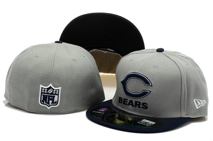 Chicago Bears Grey Fitted Hat 60D 0721